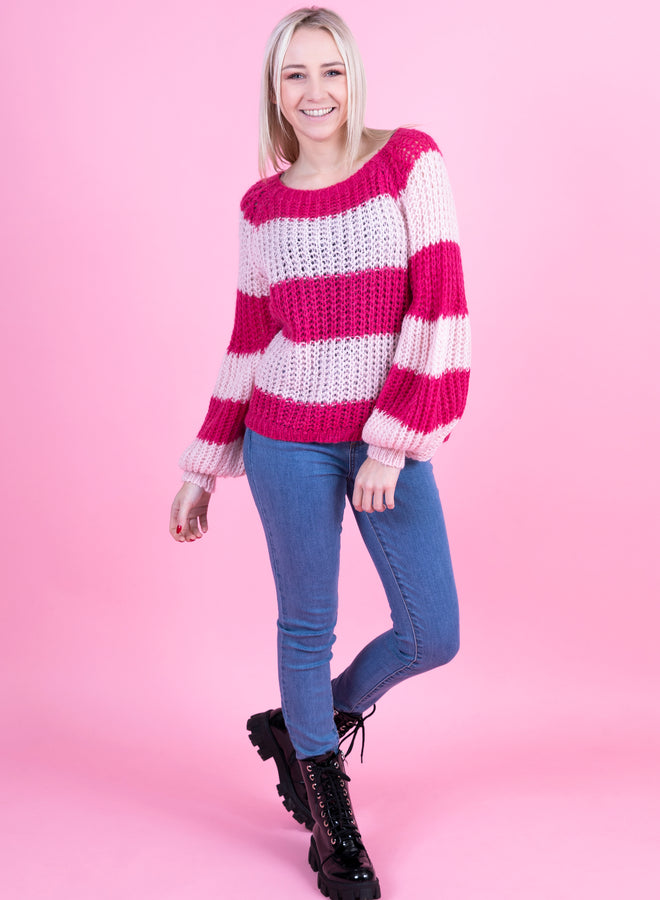 big baggy striped soft pink/hot pink - trui