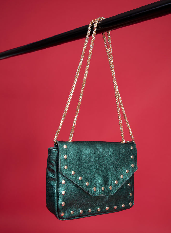 too cool for you dark green metallic - handtas