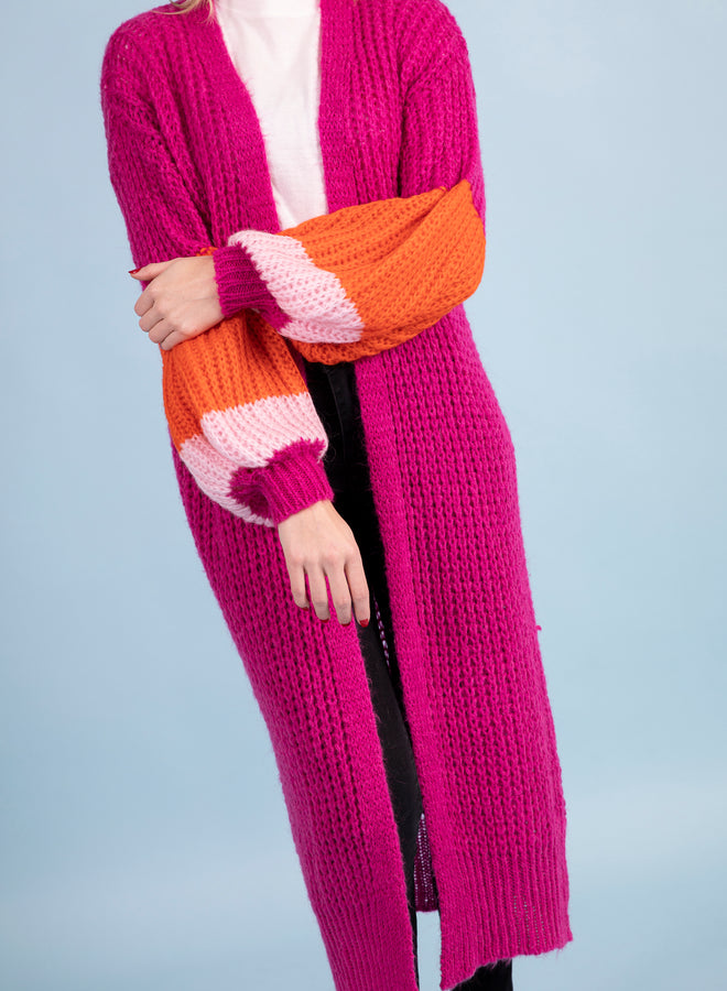 big baggy striped hot pink - gilet