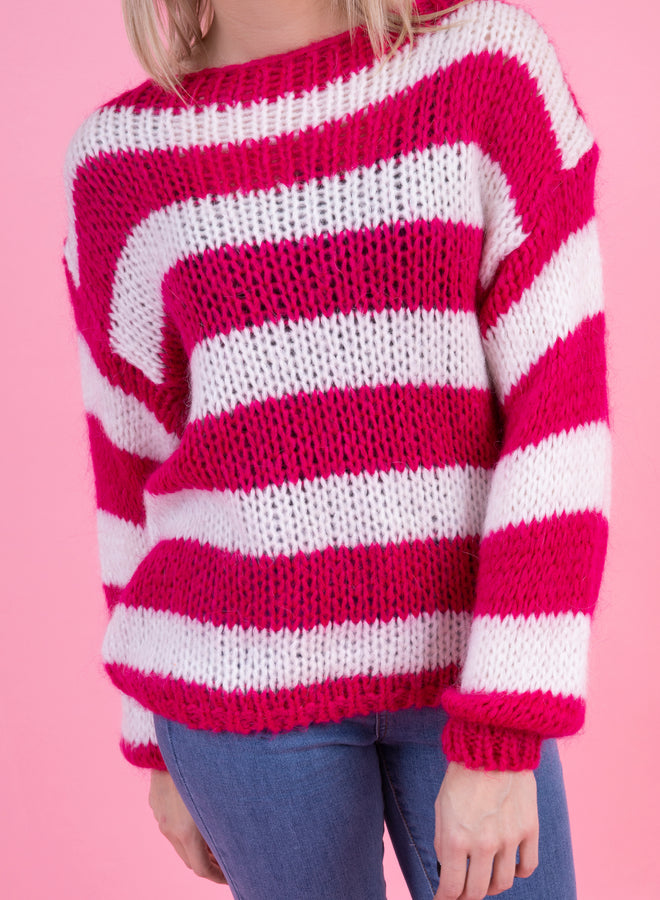 show your stripes white/hot pink - trui
