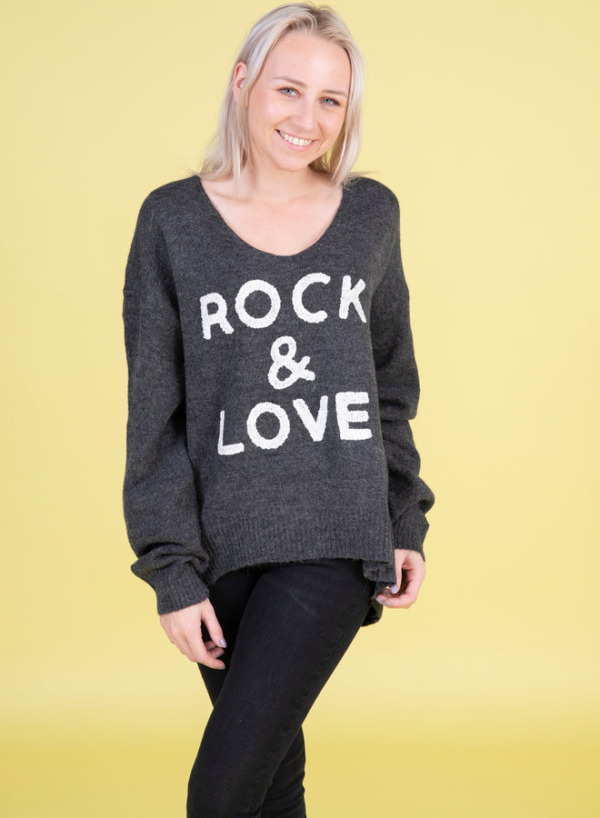 rock & love grey/white - trui