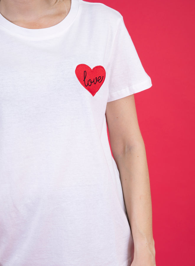 dare to love white/red - tee