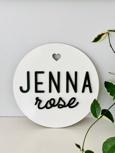 Personalized Circle Name Plank Sign (Version 2)