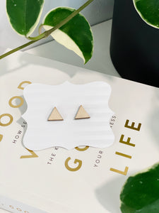 Triangle Earrings, Natural Wood