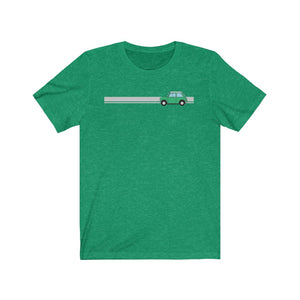 Green Classic Mini with stripe tshirt