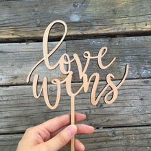 "Load image into Gallery viewer, Love Wins Cake Topper, 6""W"