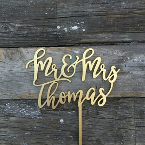 "Personalized Mr & Mrs Last Name Cake Topper, 6""W (Version 1)"
