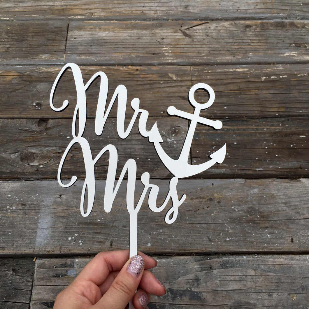 Mr Anchor Mrs Cake Topper, 6