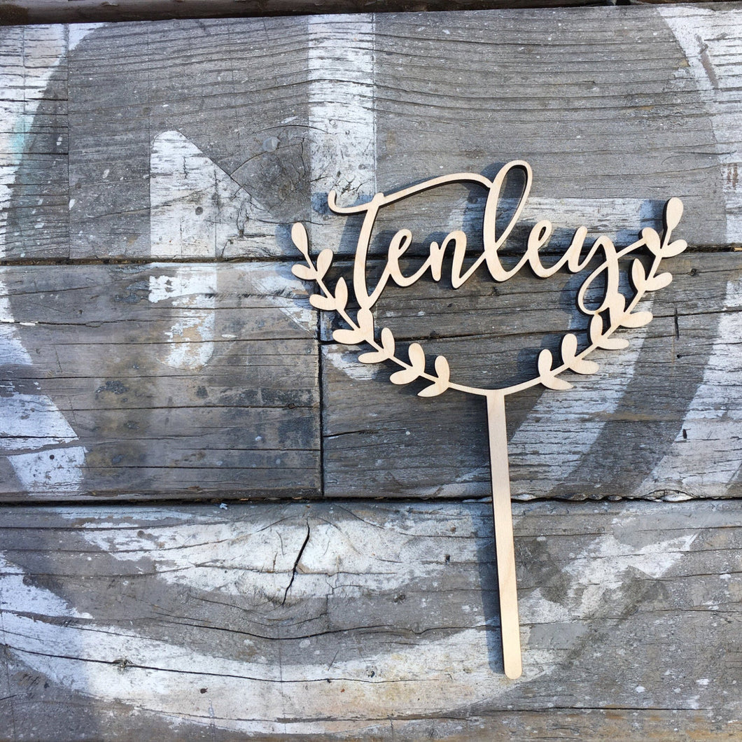 Personalized Half Wreath Name Cake Topper, 6