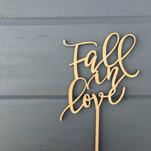 "Fall in Love Cake Topper 5""W"
