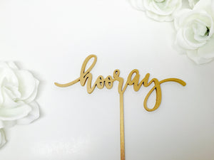 "Hooray Cake Topper, 7""W"