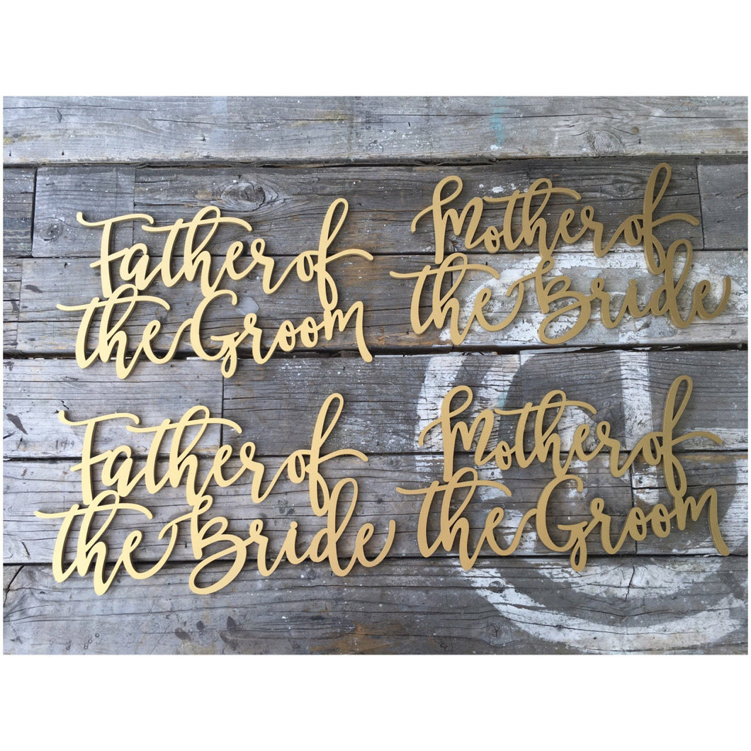 Father of the Groom, Father of the Bride, Mother of the Groom, & Mother of the Bride Chair Signs