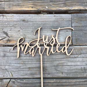 "Just Married Cake Topper, 6.5""W"