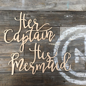 His Mermaid & Her Captain Chair Signs