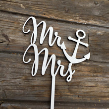 "Load image into Gallery viewer, Mr Anchor Mrs Cake Topper, 6""W"