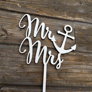 "Mr Anchor Mrs Cake Topper, 6""W"