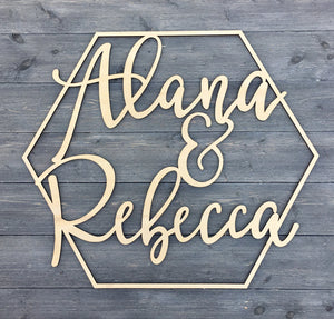 "Personalized Hexagon Name Sign, 14""x12"""