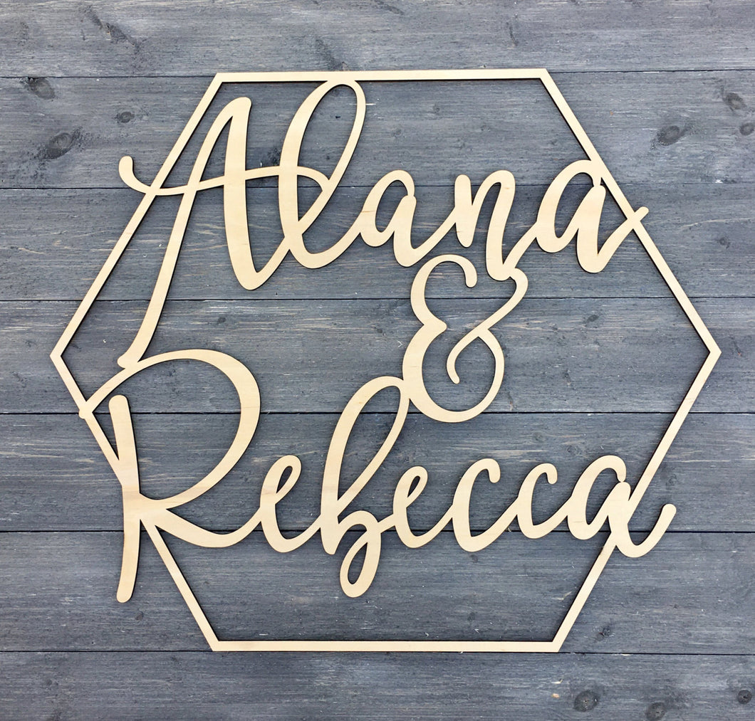 Personalized Hexagon Name Sign, 14