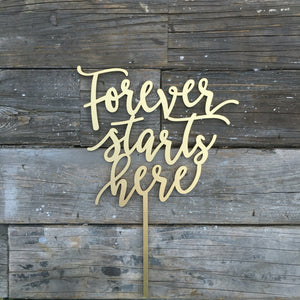 "Forever Starts Here Cake Topper, 7"" inches"