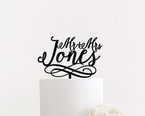 "Personalized Mr & Mrs Last Name Cake Topper with Swirls, 6""W"