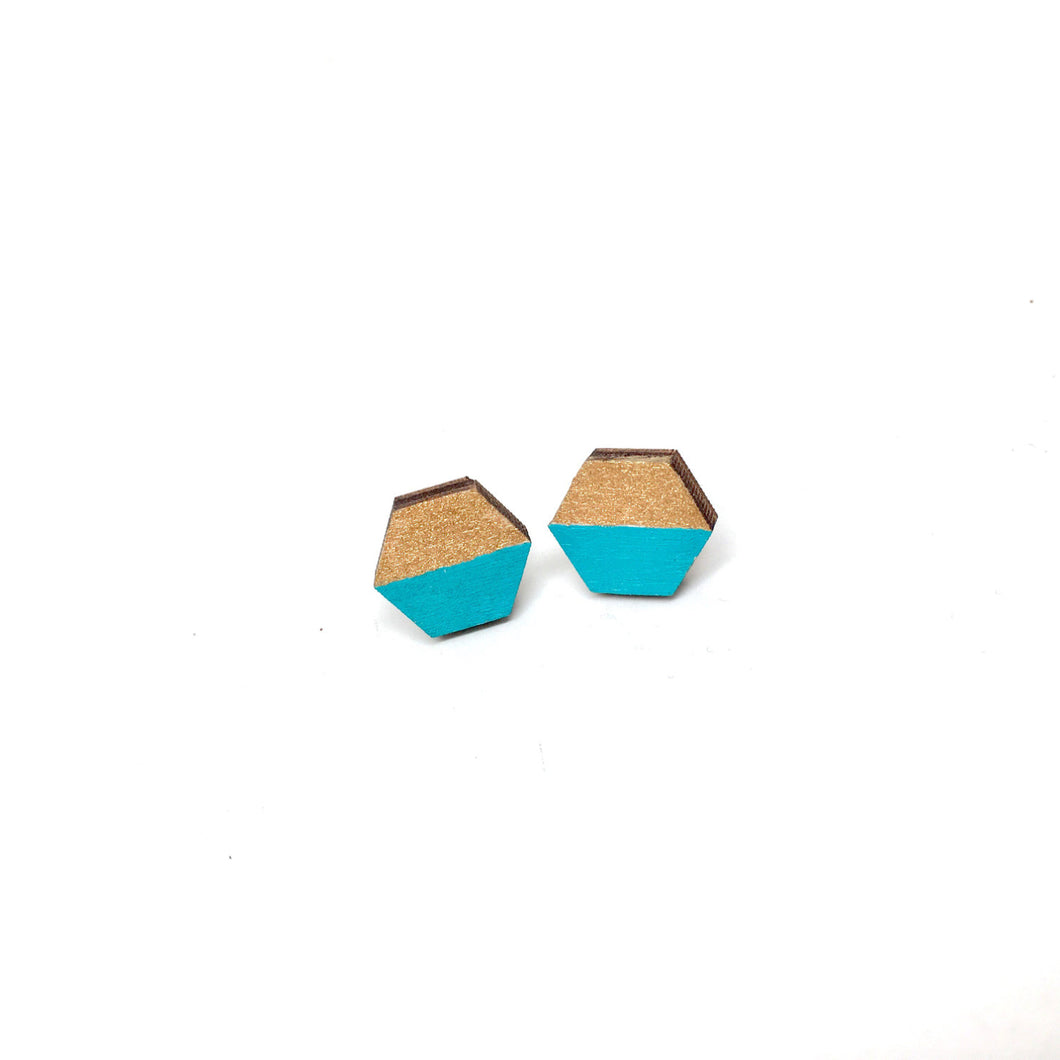 Hexagon Wood Earrings, Teal/Gold