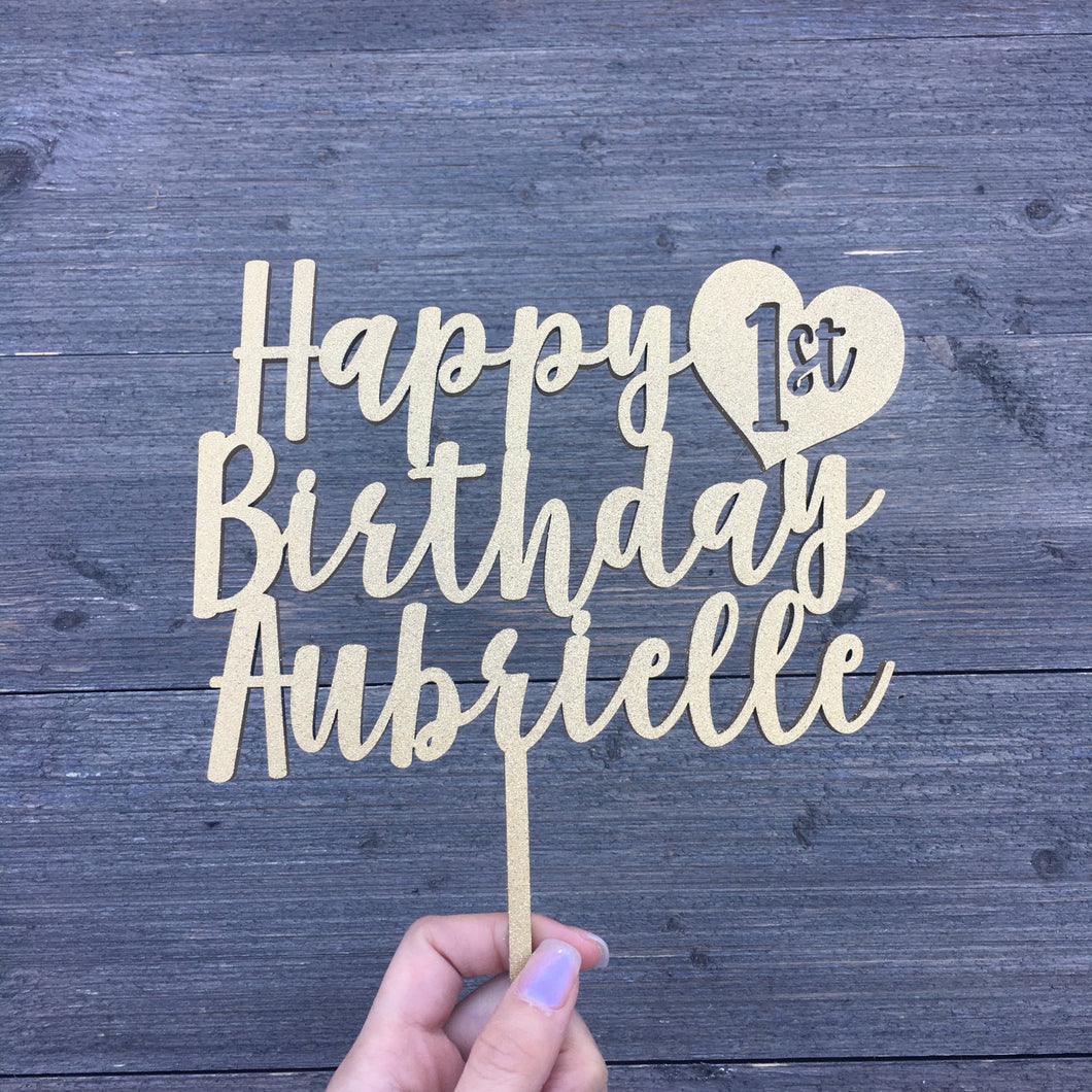 Personalized Happy 1st Birthday Name Cake Topper with Heart, 6