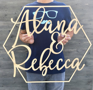 "Personalized Hexagon Name Sign, 23""x26"""