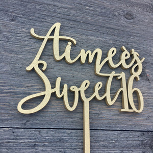 "Personalized Sweet 16 Name Cake Topper, 6""W"
