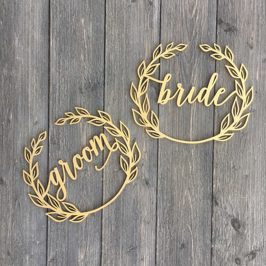 Bride & Groom Wreath Chair Signs