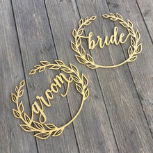 Load image into Gallery viewer, Bride & Groom Wreath Chair Signs