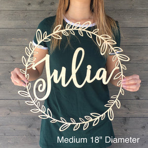 Personalized Circle Wreath Name Sign