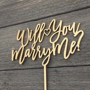 "Will You Marry Me Cake Topper, 6.5""W"