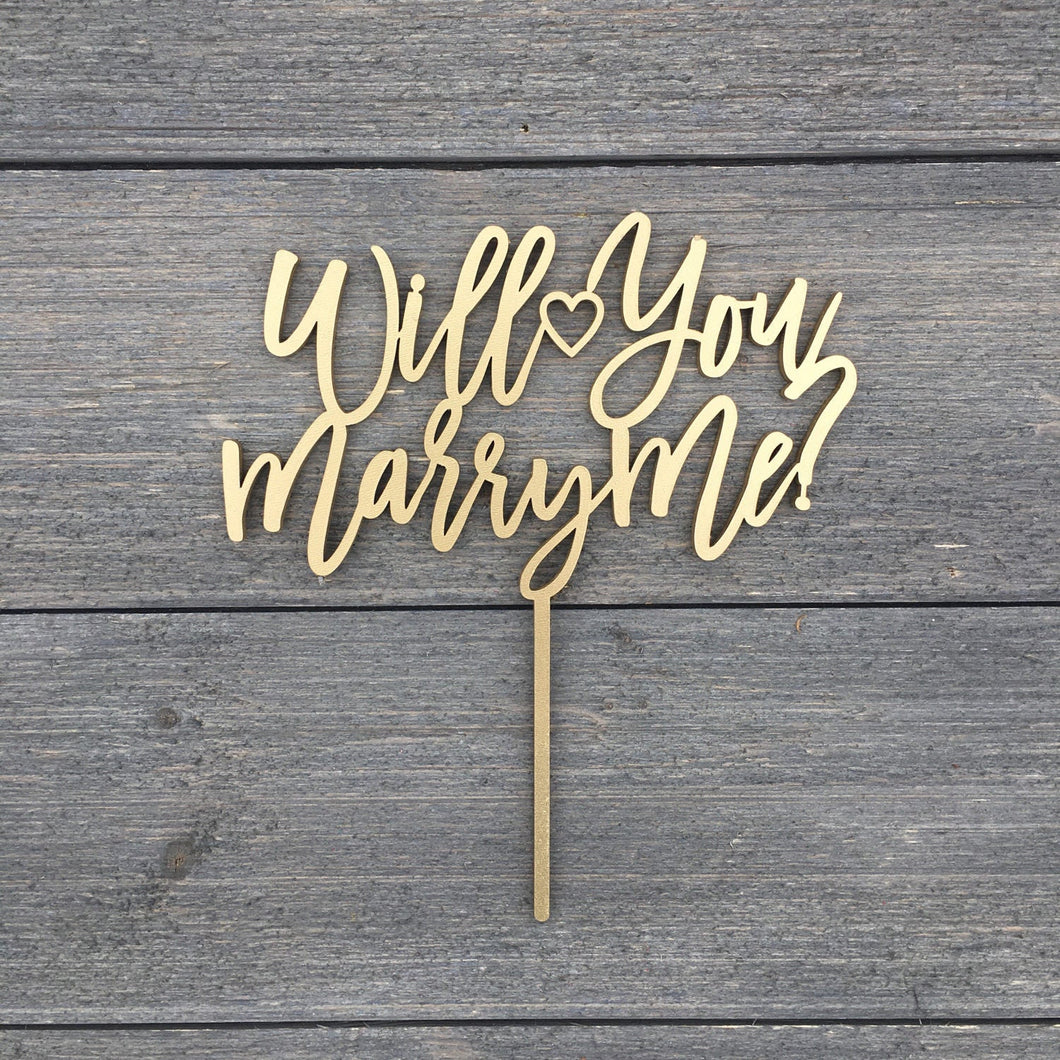 Will You Marry Me Cake Topper, 6.5