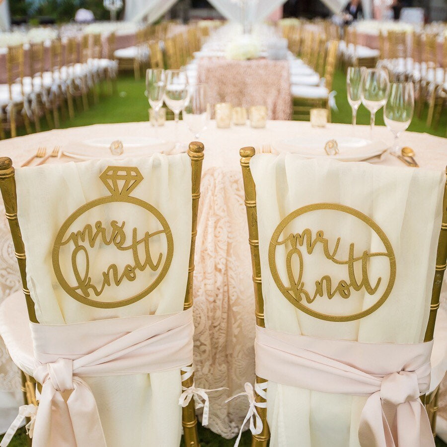 Personalized Mr & Mrs Ring Chair Signs, 10