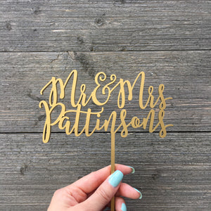 "Personalized Mr & Mrs Last Name Cake Topper, 6""W (Version 2)"