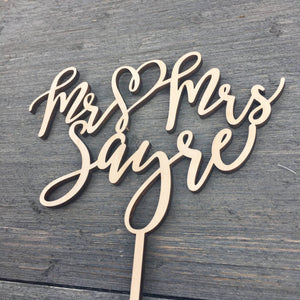 "Mr Heart Mrs Last Name Cake Topper, 6""W"