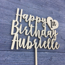 "Load image into Gallery viewer, Personalized Happy 1st Birthday Name Cake Topper with Heart, 6""W"