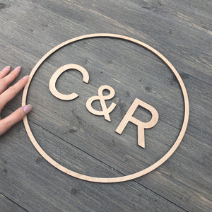 "Personalized Circle Initial Sign, 12""D"