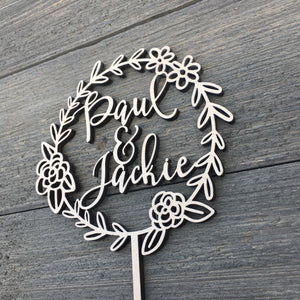 "Personalized 2 Names Floral Wreath Cake Topper, 5.5""D"