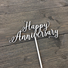 "Load image into Gallery viewer, Happy Anniversary Cake Topper, 7""W"