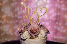 "Load image into Gallery viewer, Mr Heart Mrs Cake Topper, 6""W (Version 2)"