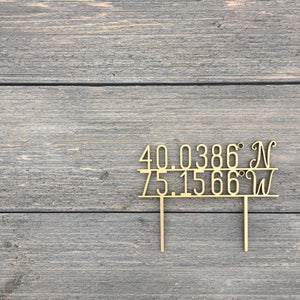 "Personalized Coordinates Cake Topper, 5""W"