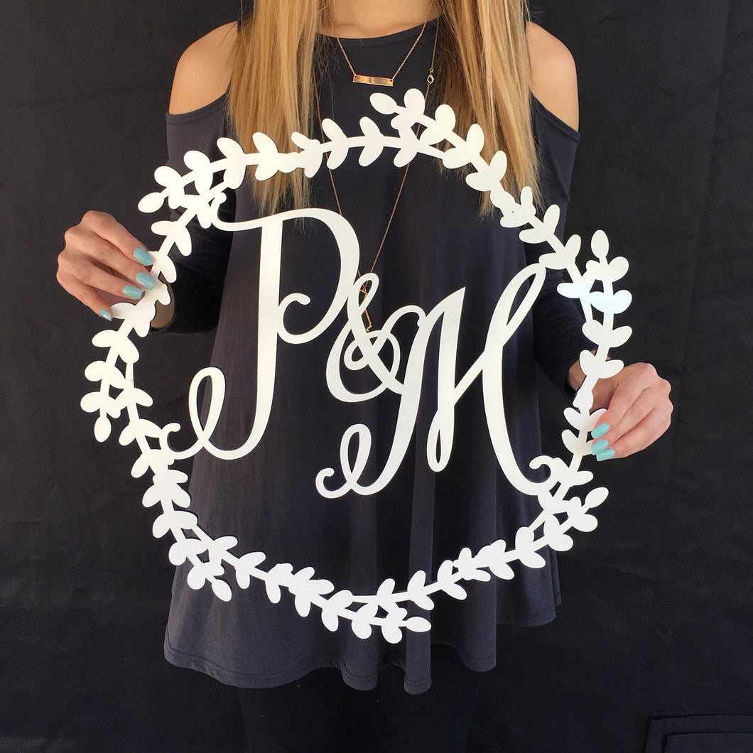Personalized Initial Wreath Sign