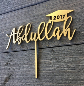 "Personalized Graduation Cap Name Cake Topper, 7""W"