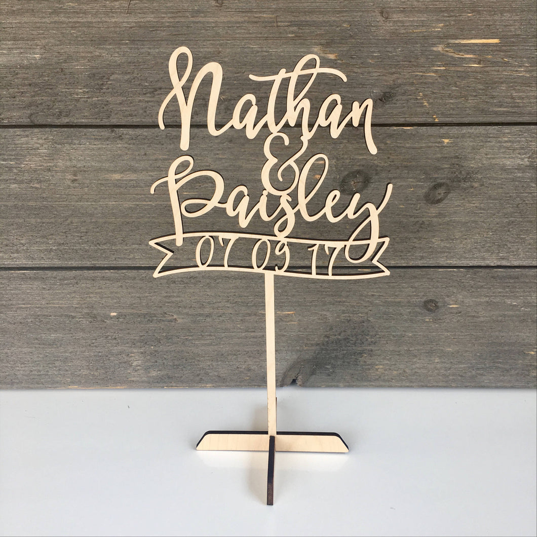 Personalized Name with Date Banner Table Top Sign, 6.5