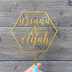 "Personalized Hexagon 2 Names Cake Topper, 5""W"