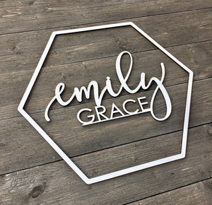 Personalized Hexagon Name Sign