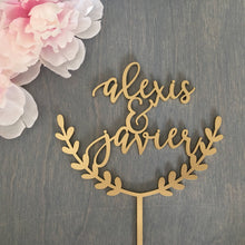 "Load image into Gallery viewer, Personalized Half Wreath Name Cake Topper, 6""W"