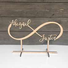 "Load image into Gallery viewer, Personalized Infinity Table Top Name Sign, 14""x9"""