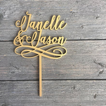 "Load image into Gallery viewer, Personalized 2 Names with Swirl Cake Topper, 5""W inches"